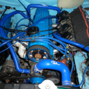 Classic blue car engine